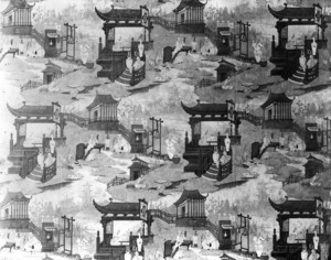 Interior view of the Dorothy Quincy House, wallpaper, Quincy, Mass., undated