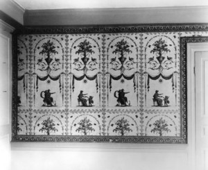Interior view of the Dorothy Quincy House, parlor wallpaper, Quincy, Mass., undated