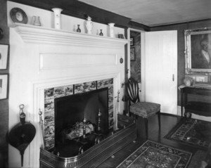 Interior view of Pickering House, fireplace, Salem, Mass., undated