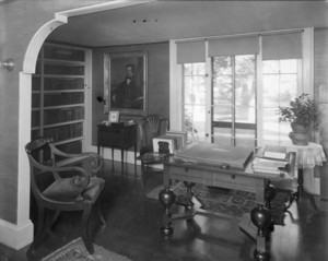 Interior view of Pickering House, library, Salem, Mass., undated