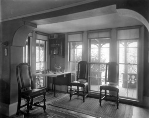 Interior view of Pickering House, dining room tea service, Salem, Mass., undated