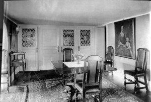 Interior view of Pickering House, dining room table, Salem, Mass., undated
