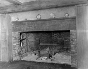Interior view of the John Lawrence House, kitchen fireplace, 76 Campmeeting Road, Topsfield, Mass., undated
