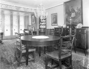 Interior view of Indian Hill, dining room, West Newbury, Mass., undated