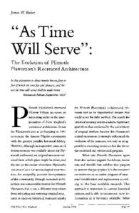 """As Time Will Serve"" : The Evolution of Plimouth Plantation's Recreated Architecture"