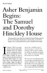 Asher Benjamin Begins : The Samuel and Dorothy Hinckley House
