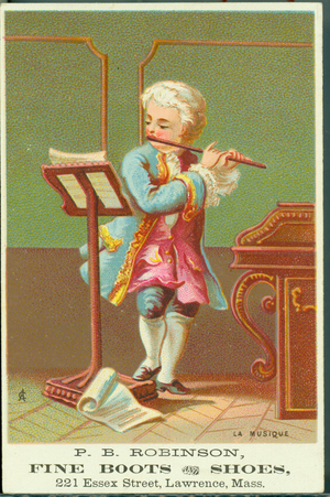 Trade card for P.B. Robinson fine boots and shoes, Lawrence, Mass., undated