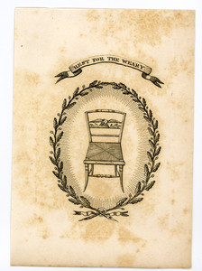 Trade card for furniture with an illustration of a chair, location unknown, undated