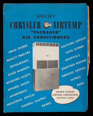 Specify Chrysler Airtemp Packaged Air Conditioners, Airtemp Division, Chrysler Corporation, Dayton, Ohio