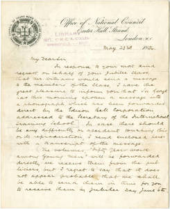 W.H. Mills letter about Sir George Williams 1894 Jubilee address