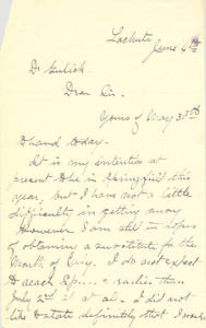 Letter From Dr. James Naismith to Dr. Luther Gulick, c. 1889-1890