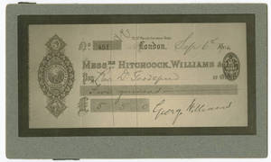 Check from Sir George Williams to Rev. Dr. Goodspeed