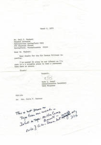 Letter from Ruth Brand to Emil Faubert regarding Sir George Williams recording