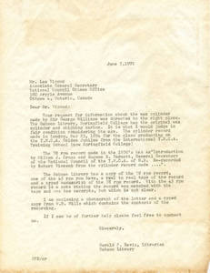 Letter from Gerald Davis to Les Vipond regarding Sir George Williams wax cylinder recording
