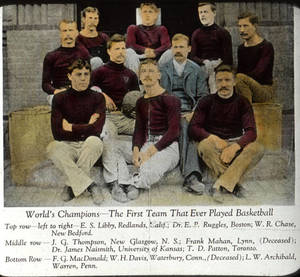 Lantern Slide of the Secretarial Basketball team of Springfield College, 1892