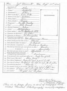 Autograph Book Questionnaire: Dr. James Naismith entry