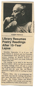 """Library Resumes Poetry Readings After 15-Year Lapse"" newspaper clipping"