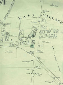 Map of East Village in Amherst, 1873