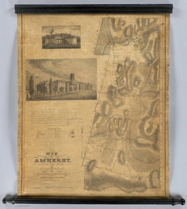 A map of Amherst with a view of the College and Mount Pleasant Institution