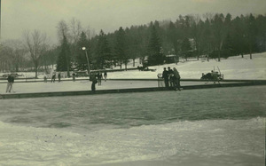 Hockey game on the Massachusetts Agricultural College pond