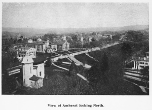 Aerial view of Amherst College and South Pleasant Street