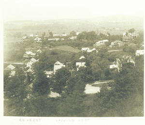 Aerial view from Amherst College looking northwest