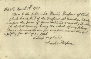 Receipt for salary paid, David Parsons, April 18, 1757