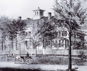 Lithograph of the Emily Dickinson Homestead, 1856