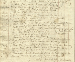 Record of Town Meeting, March 24, 1755