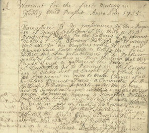 Warrant for the first meeting in Hadley Third Precinct, September 22, 1735