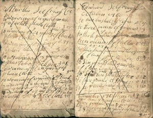 Pages from Simeon Clark account book, 1760