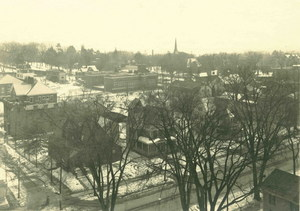 Aerial view, North Pleasant Street, Boltwood Walk area in Amherst