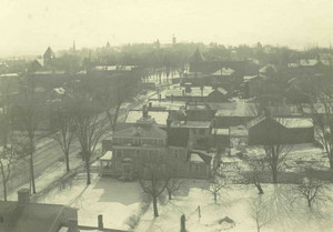 Aerial view, North Pleasant Street in Amherst, west side