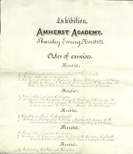 Program for Amherst Academy exhibition