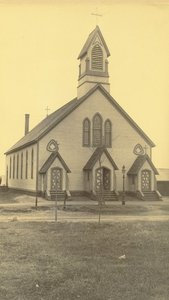First Catholic church building in Amherst