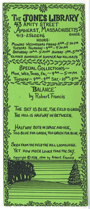 "Jones Library bookmark featuring Robert Francis' poem, ""Balance"""