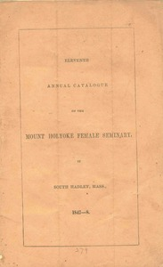 Catalog of Mount Holyoke Female Seminary, 1847-48