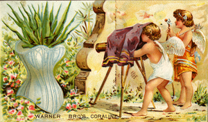 Advertising card for Warner Brothers Coraline Corset