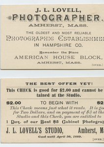 Coupon from Lovell's Amherst Picture Gallery