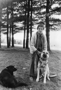 Janet Dakin with two dogs