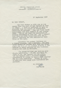 Letter from Frank Prentice Rand to Robert Francis, September 17, 1957