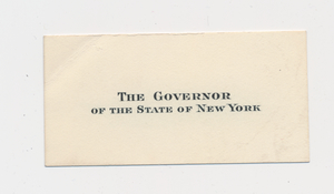 Ruth Burgess visitor card of The Governor of the State of New York