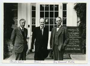 Charles Green, Paul Harris, and Ray Stannard Baker in front of the Jones Library in 1935