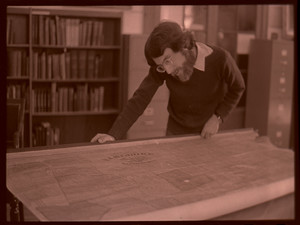 Curator Dan Lombardo in Jones Library Special Collections