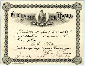 Glee Club certificate presented to Isabella A. Howard, Class of 1928, New Salem Academy
