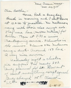 Letter from Hazel (Cogswell) Stowell to Bertha (Billings) Fisher