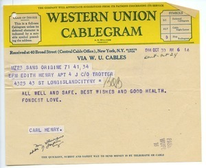 Cablegram from Carl Henry to Edith Henry