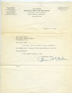 Letter from Brien McMahon to Edith Henry