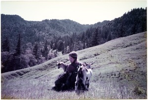Sandi Sommer on an Easter walk with dog and goats