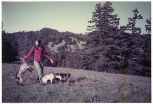 Sandi Sommer on an Easter walk with Chewie dog and goats Kate and Sophie